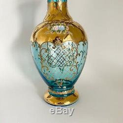 Vintage Murano Bohemian Vase Blue Glass 24K Gold Painted Flowers 11 7/8 Tall