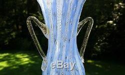 Vintage Murano Latticino Zanfirico Tall Art Glass Vase Barovier & Toso Salviati