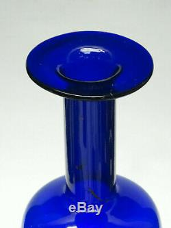 Vintage Otto Brauer Holmegaard Gulvase Scandinavian Cobalt Blue Glass Vase 10