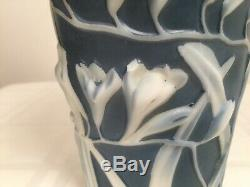 Vintage PHOENIX CONSOLIDATED GLASS Dark Blue Freesia Floral Sculpted Fan Vase