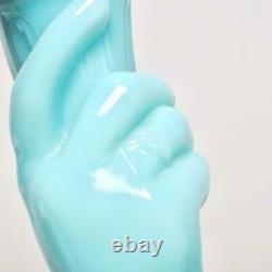 Vintage Portieux Vallerysthal Blue Opaline Glass Hand Vase, 8h