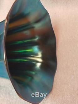 Vintage Signed Steuben Blue Aurene Art Glass Vase