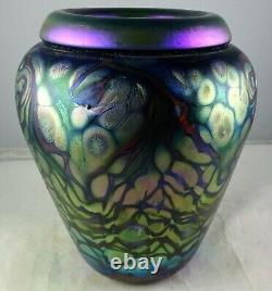 Vintage Signed Studio Art Glass Vase Cobalt Blue Iridescent Vine Design
