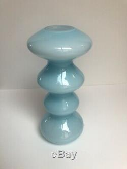 Vintage Sky Blue & White Cased 13 Art Glass Vase Scandinavian MCM Empoli Styl