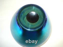 Vintage Steuben Blue Aurene Iridescent Bolbous Glass 8 Vase