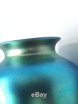 Vintage Steuben Blue Aurene Iridescent Glass Vase, 6 1/2