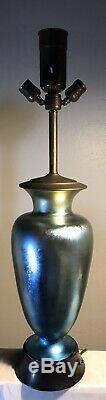Vintage Steuben Glass Blue Aurene Vase Lamp Shape #3285 16+
