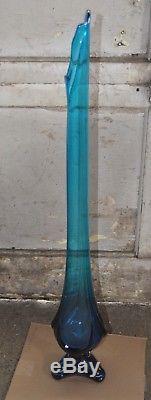 Vintage Swung Vase (Viking) Azure/Sapphire Blue 32-1/2 Tall VGC