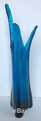 Vintage TALL Viking Bluenique Blue Swung Art Glass Vase Mid Century Modern