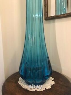 Vintage Tall Blue Stretched Fluted Swung Glass Vase Mid Century Modern LE Smith