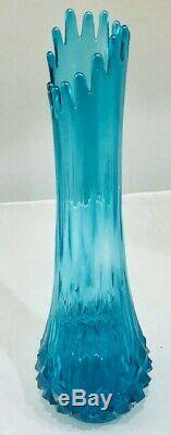 Vintage Tall L. E Smith Blue Vase