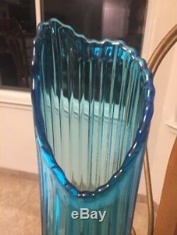 Vintage Viking Art Glass Peacock Blue Tall 20.5 Ribbed Swung Floor Vase MCM