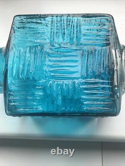 Vintage WHITEFRIARS Kingfisher Blue Stitched Cube Vase