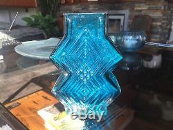 Vintage Whitefriars Double Diamond Vase 9759 in Kingfisher Blue