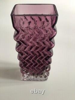 Vintage Whitefriars Glass Zig-zag Vase (9751) In Aubergine