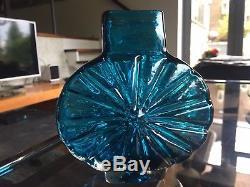 Vintage Whitefriars Sunburst Vase 9676 in Kingfisher Blue in Fantastic Condition