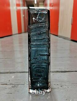 Vintage Whitefriars Totem Glass Vase Geoffrey Baxter Indigo Willow Mint Blue Art