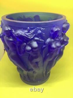 Vintage Xl 10 H Dark Blue Bacchantes Heavy Art Glass Vase 9.8lb Naked Nudes