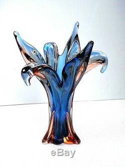 Vtg 14 Murano Sommerso Pulled Flared Fluted Art Glass Vase Cobalt Blue & Orange