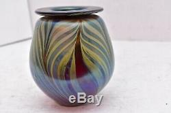 Vtg Art Glass Vase Pulled Feathers Blue Iridescent Signed Rich Miller 5.5