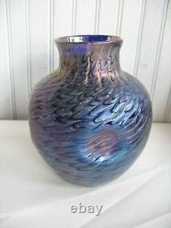 Vtg KRALIK IRIDESCENT Glass VASE Blue Purple ART NOUVEAU Bohemia