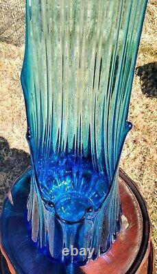 Vtg L. E. Smith 9 Petal Bluenique Ribbed Swung Art Glass Vase 27 T RARE