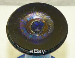 Vtg Lundberg Studio Art Glass 11 Evening Star Flare Vase Blue Iridescent Aurene