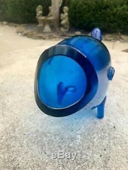 Vtg Mid Century Modern Blenko Blue Hand Blown Art Glass Fish Vase Vessel 20+