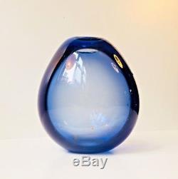 Vtg Per Lütken Holmegaard Sapphire Blue Mouth Blown Drop Vase 50s Danish Modern