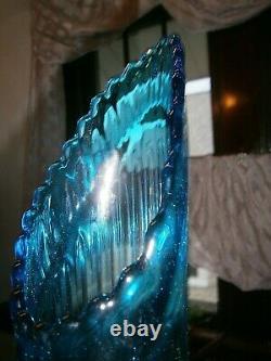 Vtg Rare L E Smith 1000 Eyes Simplicity Blue Swung Vase 15 VGC HTF