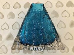 WHITEFRIARS GLASS PYRAMID VASE IN KINGFISHER BLUE C. 1960s CHARLES BAXTER