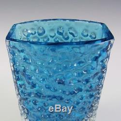 Whitefriars/Baxter Kingfisher Blue Glass Nailhead Vase #9762