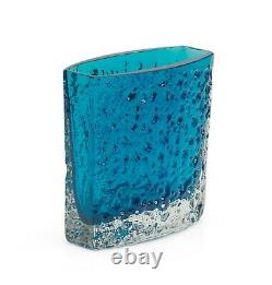 Whitefriars Bow Front Nailhead Vase Kingfisher Blue Designed by Geoffrey Baxter
