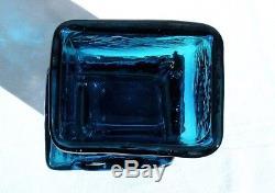 Whitefriars Kingfisher Blue Drunken Bricklayer Vase Geoffrey Baxter 60's Iconic