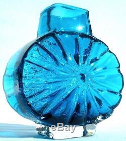 Whitefriars Kingfisher Blue Glass Sunburst Vase Geoffrey Baxter 60's Iconic