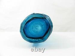 Whitefriars Textured Hoop Vase Kingfisher Blue by Geoffrey Baxter
