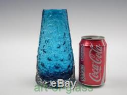 Whitefriars kingfisher blue Volcano glass vase Geoffrey Baxter vintage 1960s