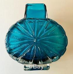 Whitefriars sunburst vase kingfisher blue Baxter midcentury 1960s 9676 fantastic