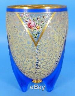 XL ART Deco DUNCAN MILLER ROCKET SHIP BLUE ETCHED GLASS ENAMEL CENTERPIECE VASE